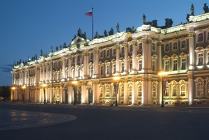 White Nights in Saint-Petersburg. The Winter Palace, the winter residence of the imperial family, is an excellent example of Russian baroque architecture (State Hermitage Museum). St. Petersburg, Russia.